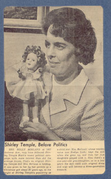 Evelyn Borland and her Shirley Temple doll