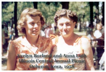 Evelyn Borland and Anna Luth, Illinois Central Railroad 1958 annual picnic, Oelwein, Iowa